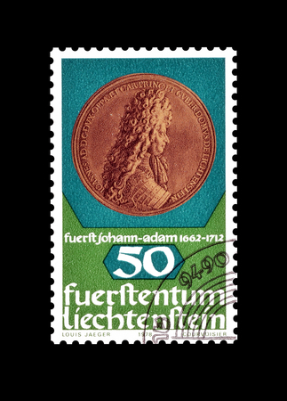 philately: Cancelled postage stamp printed by Liechtenstein, that shows old coin, circa 1978.