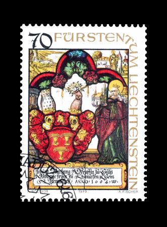 liechtenstein: Cancelled postage stamp printed by Liechtenstein, that shows religious motives, circa 1979. Editorial