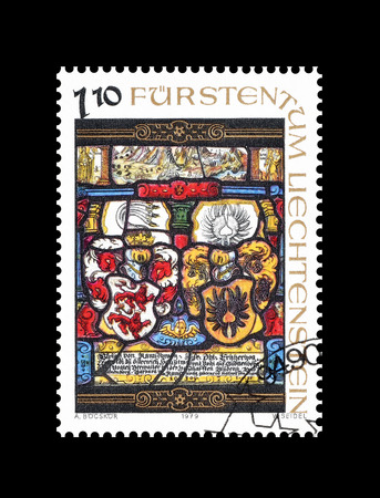 philately: Cancelled postage stamp printed by Liechtenstein, that shows religious motives, circa 1979. Editorial