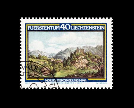 philately: Cancelled postage stamp printed by Liechtenstein, that shows Moritz Menzinger, circa 1982. Editorial
