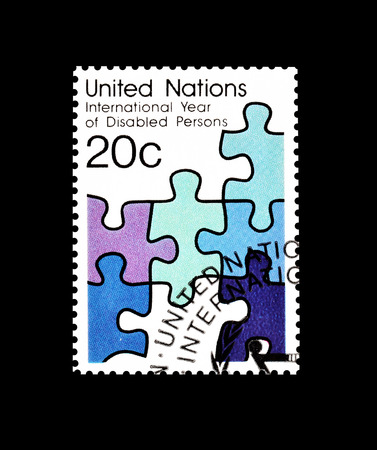 promotes: Cancelled postage stamp printed by United Nations, that promotes International year of the disabled persons, circa 1981. Editorial