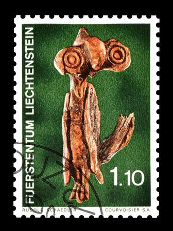 liechtenstein: Cancelled postage stamp printed by Liechtenstein, that shows wooden sculpture, circa 1972. Editorial