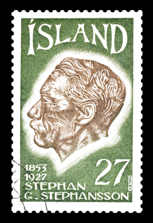 philately: Cancelled postage stamp printed by Iceland, that shows Stephan Stephansson, circa 1975. Editorial