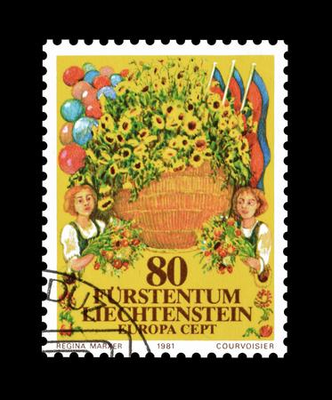 philately: Cancelled postage stamp printed by Liechtenstein, that shows folklore, circa 1981. Editorial