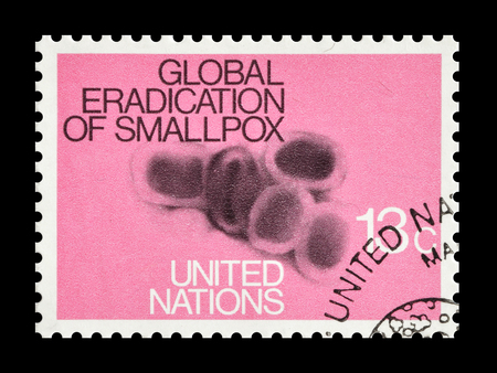eradication: Cancelled postage stamp printed by United Nations, that promotes small pox eradication, circa 1978.