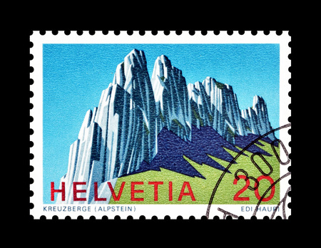 philately: Cancelled postage stamp printed by Switzerland, that shows Kreuzberge, circa 1969. Editorial
