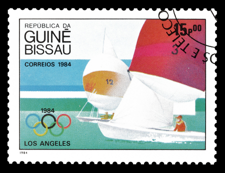 guinea bissau: Cancelled postage stamp printed by Guinea Bissau, that shows High jump, circa 1984. Editorial