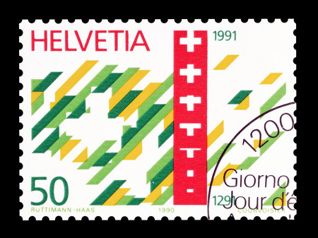 depiction: Cancelled postage stamp printed by Switzerland, that shows Symbolic depiction of 700 years Swiss Confederation, circa 1990.
