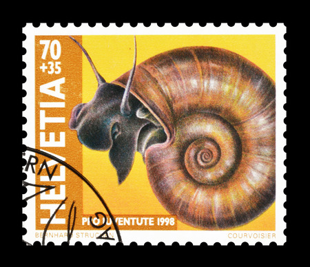 philately: Cancelled postage stamp printed by Switzerland, that shows Great Ramshorn, circa 1998. Editorial