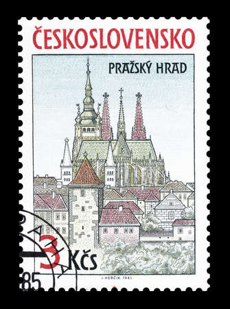 vitus: Cancelled postage stamp printed by Czechoslovakia, that shows Saint Vitus Cathedral in Prague, circa 1985. Editorial