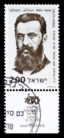 theodor: Cancelled postage stamp printed by Israel, that shows Theodor Zeev Herzl, circa 1978. Editorial
