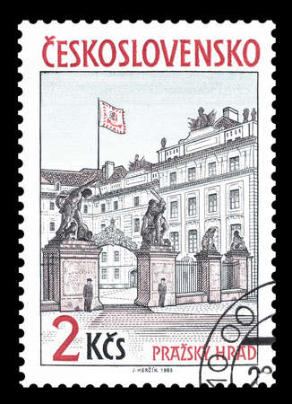 czechoslovakia: Cancelled postage stamp printed by Czechoslovakia, that shows Presidential palace in Prague, circa 1985.