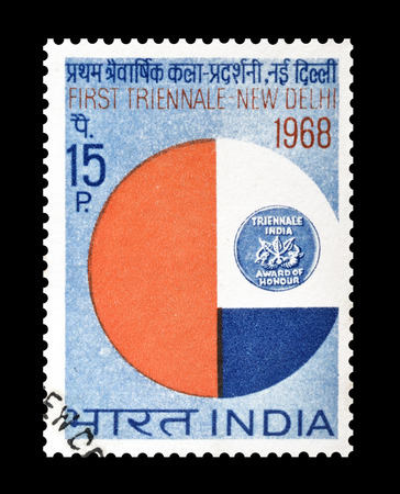 promotes: Cancelled postage stamp, printed by India, that promotes First Triennale Art Exhibition in New Delhi, circa 1968.