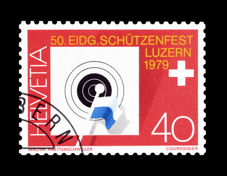 promotes: Cancelled postage stamp printed by Switzerland, that promotes 50th Federal Riflemen Festival in Lucerne, circa 1979.
