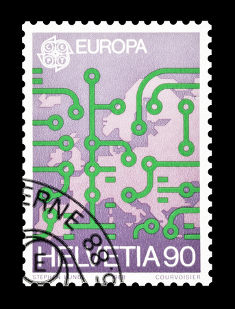 philately: Cancelled postage stamp printed by Switzerland, that shows Map of Europe, circa 1988.