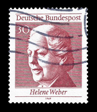 weber: Cancelled postage stamp printed by Germany, that shows Helene Weber, circa 1969. Editorial