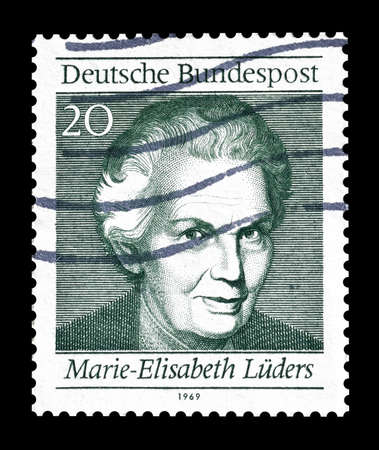 elisabeth: Cancelled postage stamp printed by Germany, that shows Marie Elisabeth Luders, circa 1969. Editorial