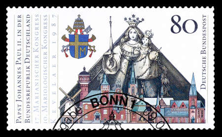 pope: Cancelled postage stamp printed by Germany, that shows Pope Johannes Paulus II, circa 1987.