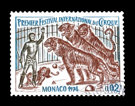 timbre postal: Cancelado sello impreso por Mónaco, que muestra el Circo, alrededor de 1974.