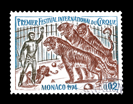 postage stamp: Cancelled postage stamp printed by Monaco, that shows Circus, circa 1974.
