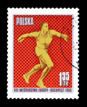 discus: Cancelled postage stamp printed by Poland, that shows Discus throw, circa 1966. Editorial