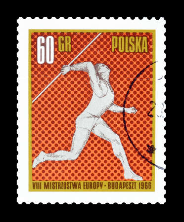 lanzamiento de jabalina: Cancelled postage stamp printed by Poland, that shows Javelin throw, circa 1966.