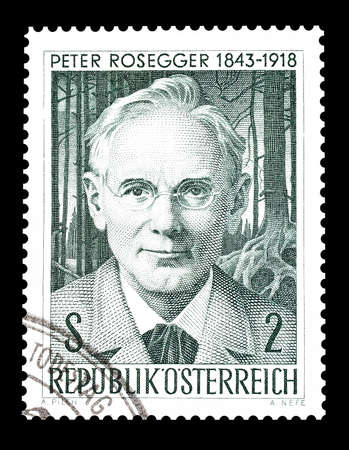 philately: Cancelled postage stamp printed by Austria, that shows Peter Rosegger, circa 1968.