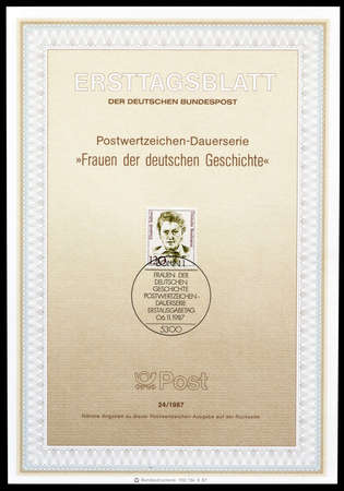 elisabeth: Cancelled First Day Sheet printed by Germany, that shows Elisabeth Selbert, circa 1987.
