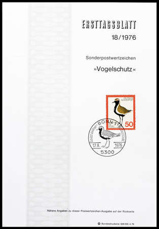 plover: Cancelled First Day Sheet printed by Germany, that shows Golden Plover, circa 1976. Editorial