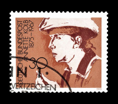 philately: Cancelled postage stamp printed by Germany, that shows Annette Kolb, circa 1975.