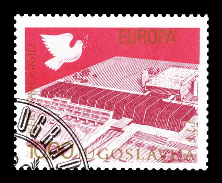 yugoslavia: Cancelled postage stamp printed by Yugoslavia, that shows Sava Congress Center, circa 1977. Editorial