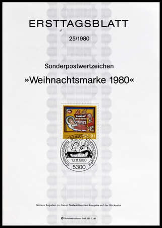 motive: Cancelled First Day Sheet printed by Germany, that shows religious motive, circa 1980. Editorial