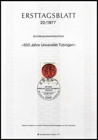 first day: Cancelled First Day Sheet printed by Germany, that shows University Tubingen stamp, circa 1977. Editorial
