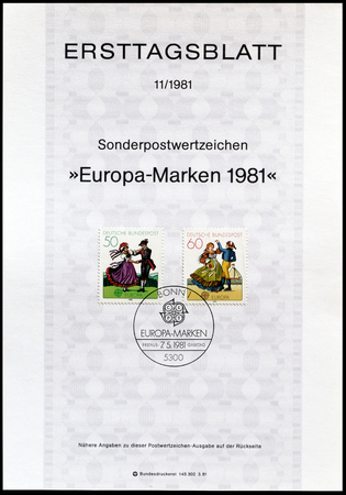 first day: Cancelled First Day Sheet printed by Germany, that shows Folklore, circa 1981.