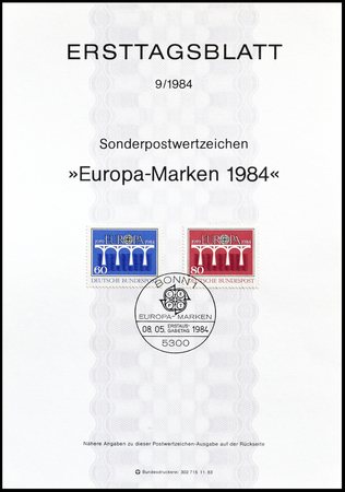 first day: Cancelled First Day Sheet printed by Germany, that shows Europa CEPT stamps, circa 1984. Editorial