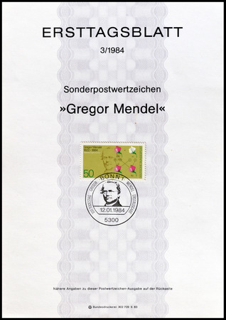 first day: Cancelled First Day Sheet printed by Germany, that shows Gregor Mendel, circa 1984.
