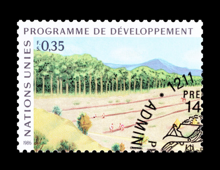 forestry: Cancelled postage stamp printed by United Nations, that shows forestry, circa 1986.