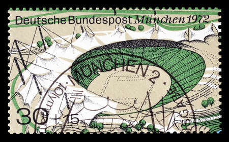 olympic stadium: Cancelled postage stamp printed by Germany, that shows Olympic stadium, circa 1972.
