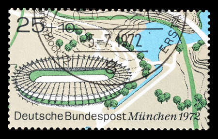 velodrome: Cancelled postage stamp printed by Germany, that shows Velodrome, circa 1972.