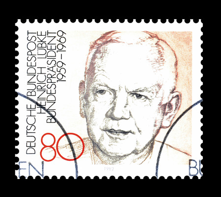 Cancelled postage stamp printed by Germany, that shows Heinrich Lubke, circa 1982.
