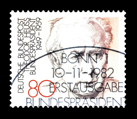 theodor: Cancelled postage stamp printed by Germany, that shows Theodor Heuss, circa 1982.