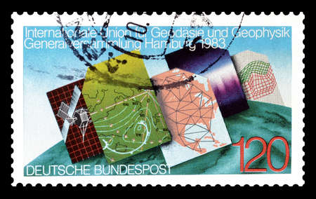 philately: Cancelled postage stamp printed by Germany, that shows Cartographyl, circa 1983.