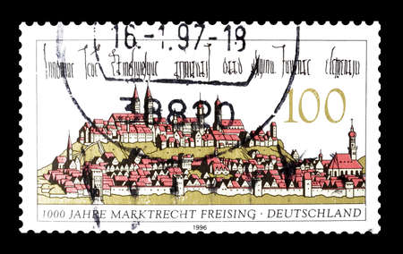 philately: Cancelled postage stamp printed by Germany, that shows Freising, circa 1996.