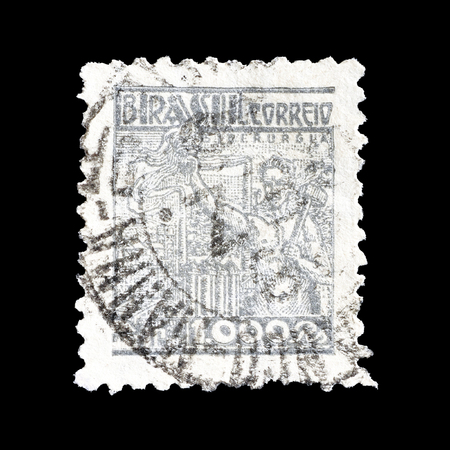 brasil: Cancelled postage stamp printed by Brasil, that shows Steel industry, circa 1941.