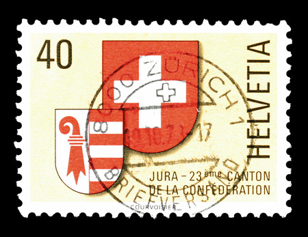 jura: Cancelled postage stamp printed by Switzerland, that shows coat of arms of Jura and Switzerland, circa 1978.