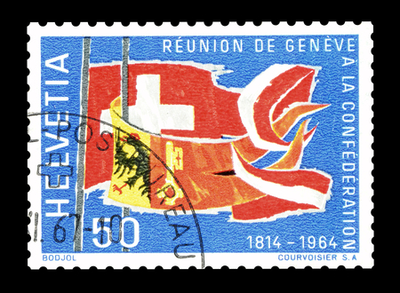 confederation: Cancelled postage stamp printed by Switzerland, that shows Flags of Geneva and Swiss Confederation, circa 1964.