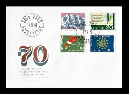 current events: Cancelled First Day Cover letter printed by Switzerland, that shows current events, circa 1970.