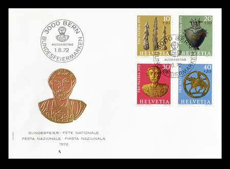 artefacts: Cancelled First Day Cover letter printed by Switzerland, that shows artefacts, circa 1972.