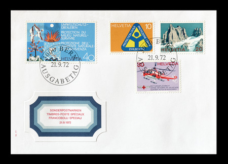 promotes: Cancelled First Day Cover letter printed by Switzerland, that  promotes environment, circa 1972.