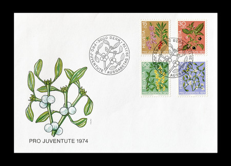 first day: Cancelled First Day Cover letter printed by Switzerland, that shows Flora, circa 1974.